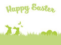 Easter background with easter bunnies, eggs and butterflies