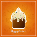 Easter background with easter cake illistration on orange Royalty Free Stock Images