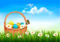 Easter background with easter eggs in basket and butterfly on flowers vector Royalty Free Stock Photos