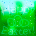 Easter background and egg on window with rain Stock Image