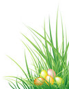 Easter background with the eggs and grass Royalty Free Stock Photo