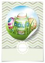 Easter background with eggs in grass greeting card design template vector illustration eps Stock Images