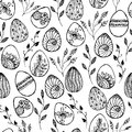 Easter background with eggs hand drawn black on white background