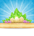 Easter background with eggs, leaves, flowers Stock Photos