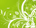 Easter background with eggs, rabbit and flower Royalty Free Stock Image