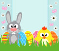 Easter background with frabbit and chicken card rabbit Royalty Free Stock Images