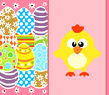Easter background with funny chicken pink card Royalty Free Stock Photography