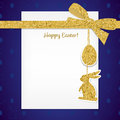 Easter background with gold ribbon and seamless pattern