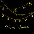 Easter background with golden eggs on black