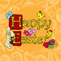 Easter background holiday with a greeting and eggs this illustration can be used for your design Royalty Free Stock Photo