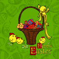 Easter background holiday with a greeting and eggs this illustration can be used for your design Stock Photo
