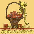Easter background holiday with a greeting and eggs this illustration can be used for your design Stock Photography