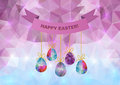 Easter background illustration of triangle with eggs and ribbon banner Royalty Free Stock Photography