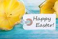 Easter background with label with happy on it Royalty Free Stock Image