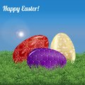 Easter background landscape three decorated eggs in the green grass under the blue sky vector illustration Royalty Free Stock Photo