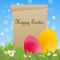 Easter background old parchment and colorful eggs in a meadow for Stock Image