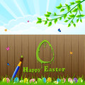 Easter background and paintbrush egg painted with a brush on the fence illustration Stock Photography