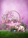 Easter background with a piglet Stock Images