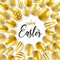 Easter background with realistic golden eggs. Spring egg hunt. Happy holiday greeting card with text lettering