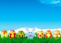 Easter background spring landscape of eggs bunny in green grass for card Royalty Free Stock Image