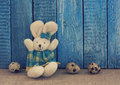 Easter background with toy rabbit and eggs Stock Photography