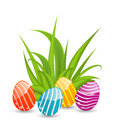 Easter background with traditional colorful eggs illustration Royalty Free Stock Photo