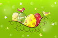 Easter banner with decorated eggs in nest and birds Stock Image