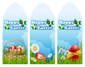 Easter banner set with eggs basket and flowers on grass Stock Image