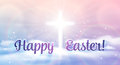 Easter banner with text happy easter shining cross and heaven with white clouds across vector illustration background Royalty Free Stock Image