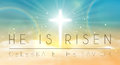 Easter banner with text 'He is risen', shining cross and heaven with white clouds.