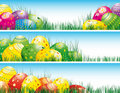 Easter banners with colorful Easter eggs. Stock Photos