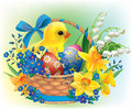 Easter basket with a baby chick Stock Photos