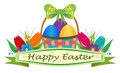 Easter basket banner happy with and tulips eps Royalty Free Stock Images