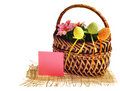 Easter basket with card Royalty Free Stock Photography