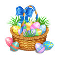 Easter basket with color painted easter eggs on white