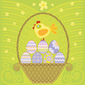 Easter basket with colored eggs and chicken Stock Photos