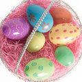 Easter Basket with Colorful Easter Eggs