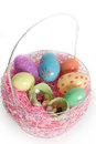 Easter Basket with Colorful Easter Eggs Royalty Free Stock Photography