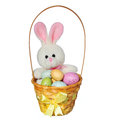Easter basket with colorful eggs and bunny toy isolated on white Royalty Free Stock Photos
