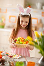 Easter basket with colorful eggs Royalty Free Stock Photo