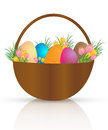 Easter basket with colorful eggs and flowers on white background Royalty Free Stock Photos