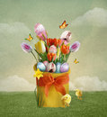 Easter basket composition with eggs and chicks Stock Photo