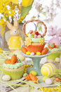 Easter basket cupcake on a stand Stock Images