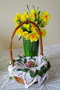 Easter basket and daffodils Stock Photos