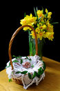 Easter basket and daffodils Royalty Free Stock Photos
