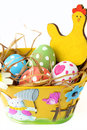 Easter basket decorated and colored eggs Royalty Free Stock Photo