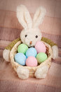 Easter basket with decorated eggs and the bunny Royalty Free Stock Photo