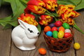 Easter basket with easter eggs and flowers Royalty Free Stock Photo