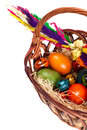 Easter basket with eggs Royalty Free Stock Photos