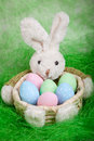 Easter basket with eggs and the Easter bunny Stock Photography